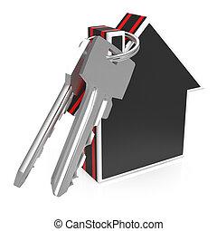 nøgler, og, hus, show, security til hjem