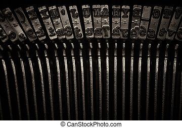 nøgler, skrivemaskine