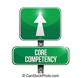 núcleo, competency, camino, ilustración, señal