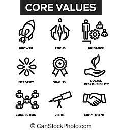 núcleo, contorno, iconos, compañía, sitios web, valores, infographics, o