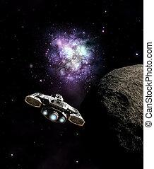 núcleo, galáctico, nave espacial, se acercar