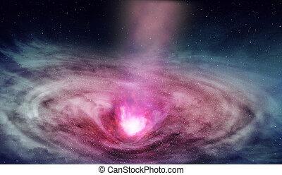 núcleo, galáctico, radiations, profundo, espaço