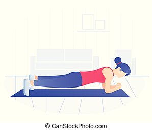 núcleo, mujer, exercise., ataque, pérdida, weight., joven,...