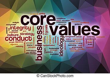 núcleo, valores, palabra, nube, con, resumen, plano de fondo
