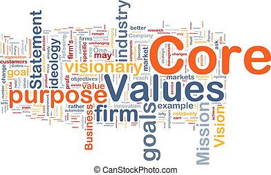 núcleo, valores, plano de fondo, concepto