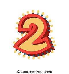 número 2, lámpara, encendido, font., vendimia, foco, alfabeto, señal, two., retro, abc, brillante, luces