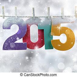 número, 2015, pendurar, um, varal, em, um, glittery, luzes,...