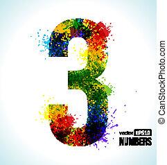 número 3, vector, gradiente