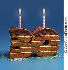número 30, formado, torta de cumpleaños