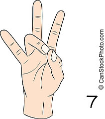 número 7, lenguaje por señas