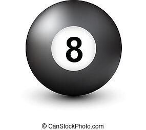 número 8, bola de la piscina