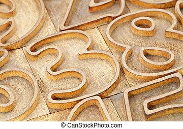 número, abstratos, em, letterpress, tipo