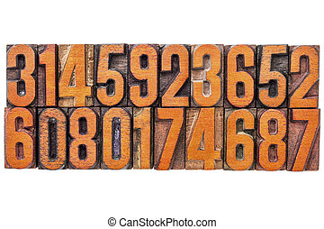 número, abstratos, em, vindima, madeira, tipo
