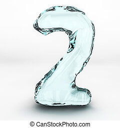 número, aislado, agua, 2, salpicaduras, plano de fondo, blanco