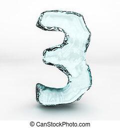 número, aislado, agua, 3, salpicaduras, plano de fondo, blanco