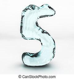 número, aislado, agua, 5, salpicaduras, plano de fondo, blanco