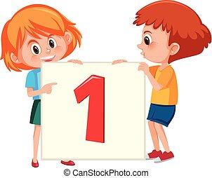 número, bandeira, crianças, segurando, um