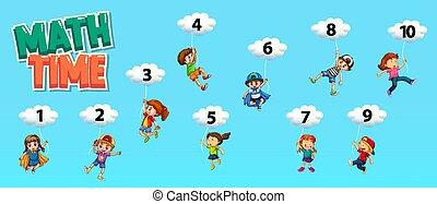 número, céu, um, cartaz, desenho, matemática, dez