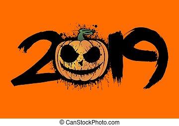 número, calabaza, 2019, halloween