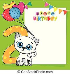 número, card., dois, gato, aniversário, balões, feliz