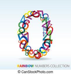 número cero, hecho, de, colorido, números
