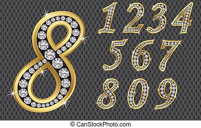 número, conjunto, de, 1, a, 9, dorado, ingenio