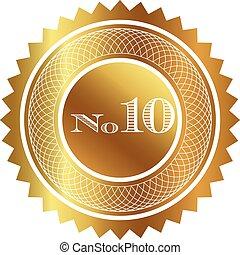 número, dez, selo ouro