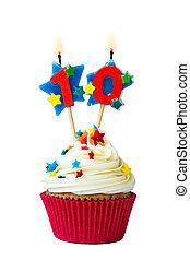 número, diez, cupcake