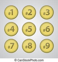 número, emblemas, ouro, imprensa