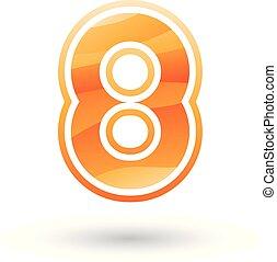 número, ilustração, vetorial, laranja, 8, redondo, ícone