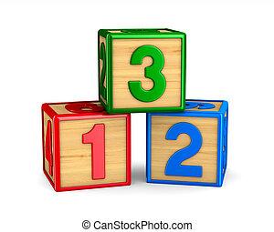 número, ilustración, aislado, fondo., blanco, bloque, 3d