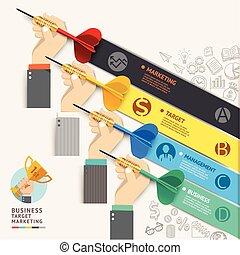 número, infographic, desenho, modelo, teia, timeline., bandeira, concept., doodles, ser, usado, negócio, workflow, marketing, opções, esquema, icons., dardo, mão, illustration., diagrama, alvo, vetorial, lata, homem negócios