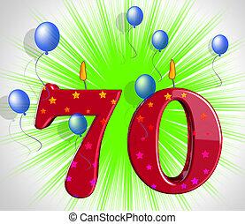 número, o, aniversario, fiesta de cumpleaños, setenta,...