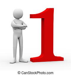 número, one., pessoa, 3d