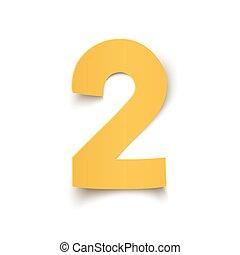 número, resumen, aislado, dos, amarillo, diseño, white.