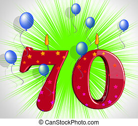 número, setenta, fiesta, medio, especial, aniversario, o,...