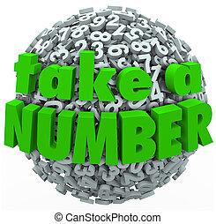 Número, volta, tomar, linha, espera, seu, antecipar