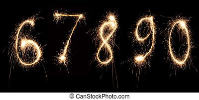 números, 2, aniversario, sparkler
