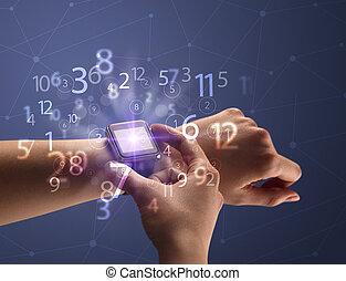 números, cicatrizarse, smartwatch, mano