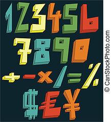 números, coloridos, 3d