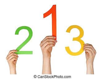 números, como, en, un, competición