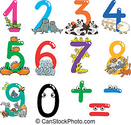 números, con, caricatura, animales