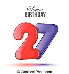 números, cumpleaños, saludo, tarjeta