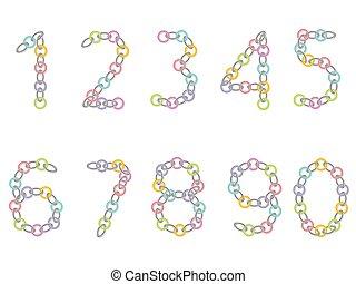 números, de, coloreado, y, metálico, cadena