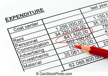 números, de, um, estatística, com, um, vermelho, pencil.,...