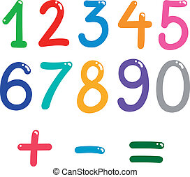 números, de, zero, para, nove