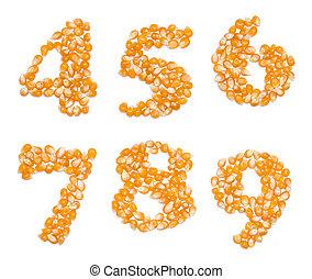 números, feito, de, milho, sementes
