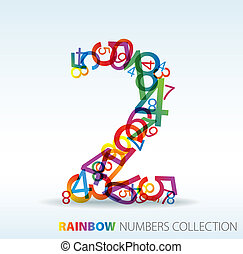 números, feito, número, coloridos, dois