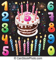 números, feliz cumpleaños, pastel, fuego artificial