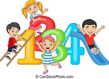 números, feliz, poco, caricatura, niños